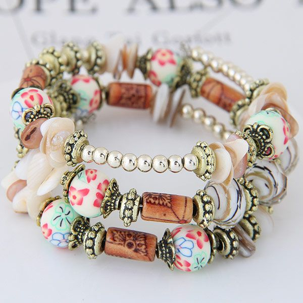 New fashion bohemian style shell accessories mix and match multi-layer bracelet yiwu nihaojewelry wholesale NHSC210476