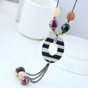 New fashion simple and sweet wild candy beads tassel long necklace yiwu nihaojewelry wholesale NHSC210475's discount tags