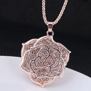Fashion metal diamond rose flower wild long necklace yiwu nihaojewelry wholesale NHSC210471's discount tags