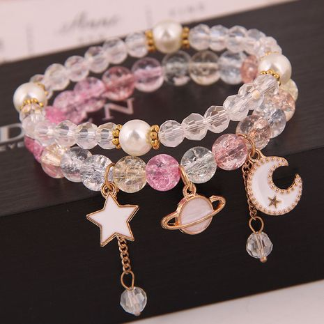 Korean fashion simple and versatile multi-element pendant crystal glass ball bead fashion double-layer bracelet yiwu nihaojewelry wholesale NHSC210470's discount tags