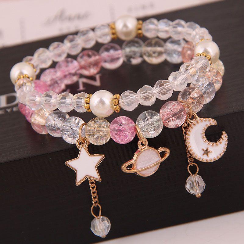 Korean fashion simple and versatile multielement pendant crystal glass ball bead fashion doublelayer bracelet yiwu nihaojewelry wholesale NHSC210470