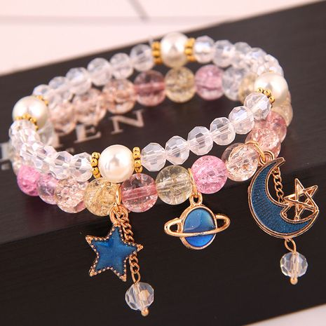 Korean fashion simple and versatile multi-element pendant crystal glass ball bead fashion double-layer bracelet yiwu nihaojewelry wholesale NHSC210468's discount tags