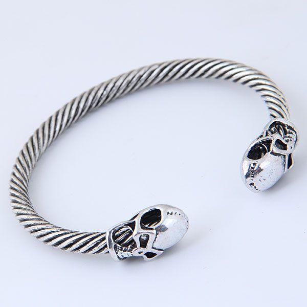 New fashion metal simple retro skull opening bracelet yiwu nihaojewelry wholesale NHSC210467