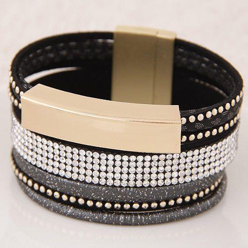 New fashion metal shine multilayer leather wild fashion ultra wide magnetic buckle bracelet yiwu nihaojewelry wholesale NHSC210466