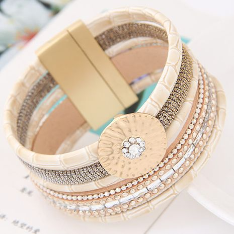 New fashion multilayer leather wild fashion ultra wide magnetic buckle bracelet yiwu nihaojewelry wholesale NHSC210465's discount tags