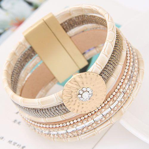 New fashion multilayer leather wild fashion ultra wide magnetic buckle bracelet yiwu nihaojewelry wholesale NHSC210465