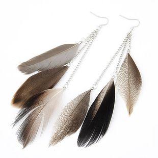 Moda coreana elegantes pendientes de plumas yiwu nihaojewelry al por mayor NHSC210447's discount tags
