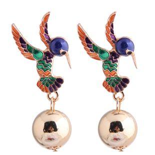 Moda metal wild drop oil hit color bird exagerados pendientes yiwu nihaojewelry al por mayor NHSC210442's discount tags