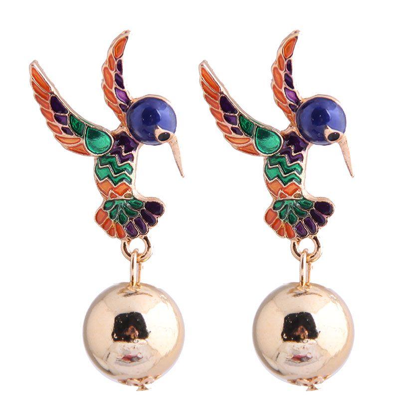 Fashion metal wild drop oil hit color bird exaggerated earrings yiwu nihaojewelry wholesale NHSC210442