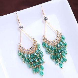 Mode coréenne magnifiquement concise boucles d'oreilles en cristal sauvage fait à la main goutte exagérée yiwu nihaojewelry gros NHSC210441's discount tags
