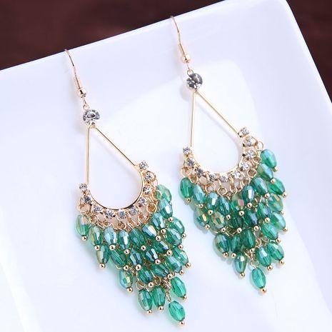 Korean fashion beautifully concise hand-made wild drop crystal exaggerated earrings yiwu nihaojewelry wholesale NHSC210441's discount tags
