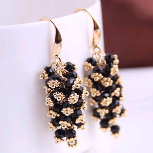 Moda coreana concisa hecha a mano de gota de uva salvaje pendientes de cristal de cadena de uva yiwu nihaojewelry al por mayor NHSC210440's discount tags
