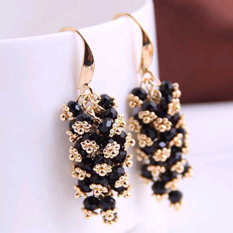 Korean fashion concise handmade handmade wild drop grape string crystal earrings yiwu nihaojewelry wholesale NHSC210440's discount tags
