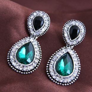 Simple baroque gem water drop exaggerated earrings yiwu nihaojewelry wholesale NHSC210439's discount tags