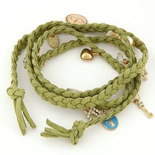 Fashion multilayer leather rope love crown shell strawberry pearl bracelet yiwu nihaojewelry wholesale NHSC210430's discount tags