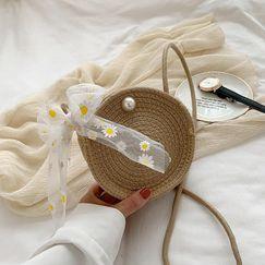 Nuevos bolsos tejidos al por mayor nihaojewelry bolso de paja pequeña margarita bufanda hombro mensajero bolso NHGA210221
