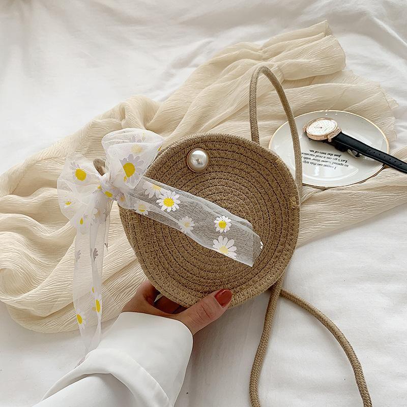 New woven handbags wholesale nihaojewelry straw bag small daisy scarf shoulder messenger handbag NHGA210221
