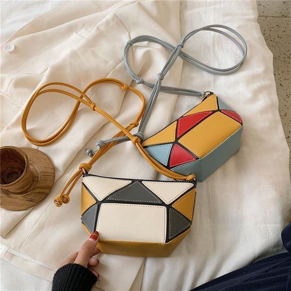 New Korean fashion crossbody bag yiwu nihaojewelry wholesale spring shoulder bag geometric stitching bucket bag NHPB210304