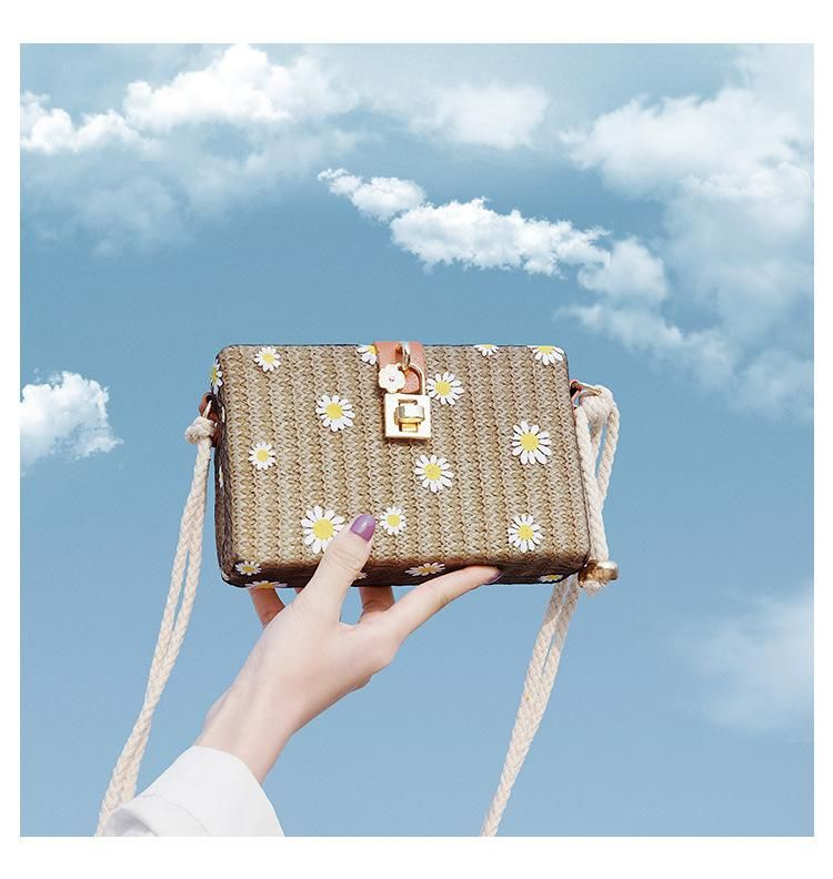 Bag wholesale summer new Korean version of the flower small square bag beach bag straw crossbody bag woven bag NHTC210360