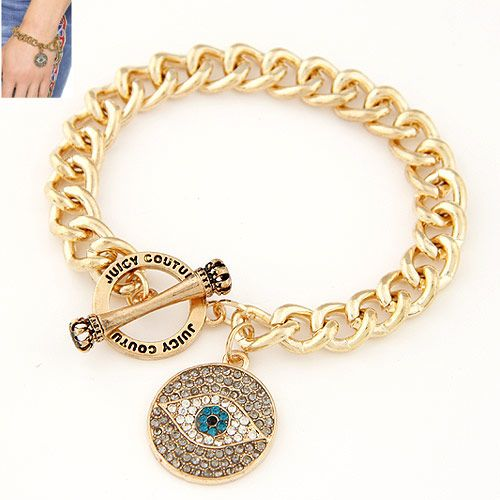 The new metal exaggerated flash diamond devil's eye pendant chain bracelet yiwu wholesale NHSC207117