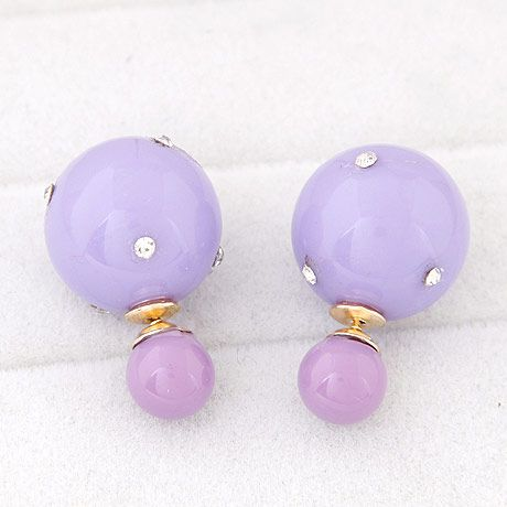 Simple candy color diamond-sized ball beads wild earrings yiwu wholesale NHSC207111