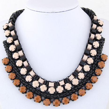 Fashion fluorescent metal gemstone exaggerated necklace yiwu wholesale NHSC207147's discount tags