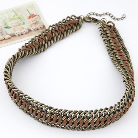 Fashion metal exaggerated necklace yiwu wholesale NHSC207145's discount tags