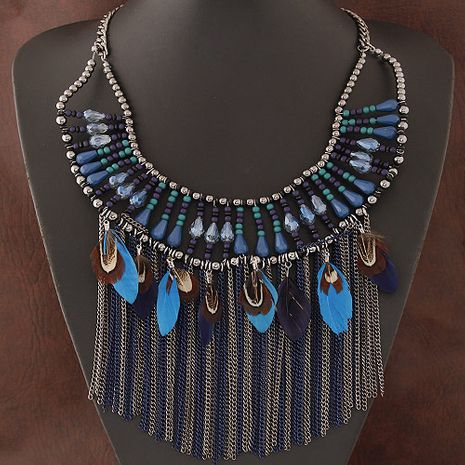 Fashion wild crystal simple tassel feather necklace yiwu wholesale NHSC207139's discount tags