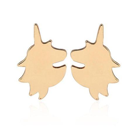 Boucles d'oreilles de licorne de bande dessinée simple protection de l'environnement alliage placage animal tête de cheval boucles d'oreilles en gros NHCU206470's discount tags