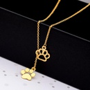 Long hollow cat paw dog paw pendant necklace animal footprint paw necklace wholesale NHCU206476