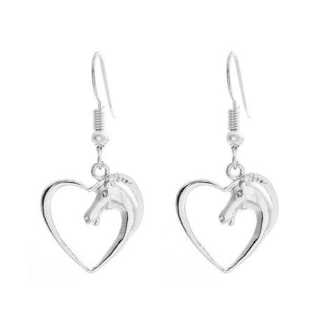 Simple coeur de pêche creux animal tête de cheval amour boucles d'oreilles en gros NHCU206477's discount tags