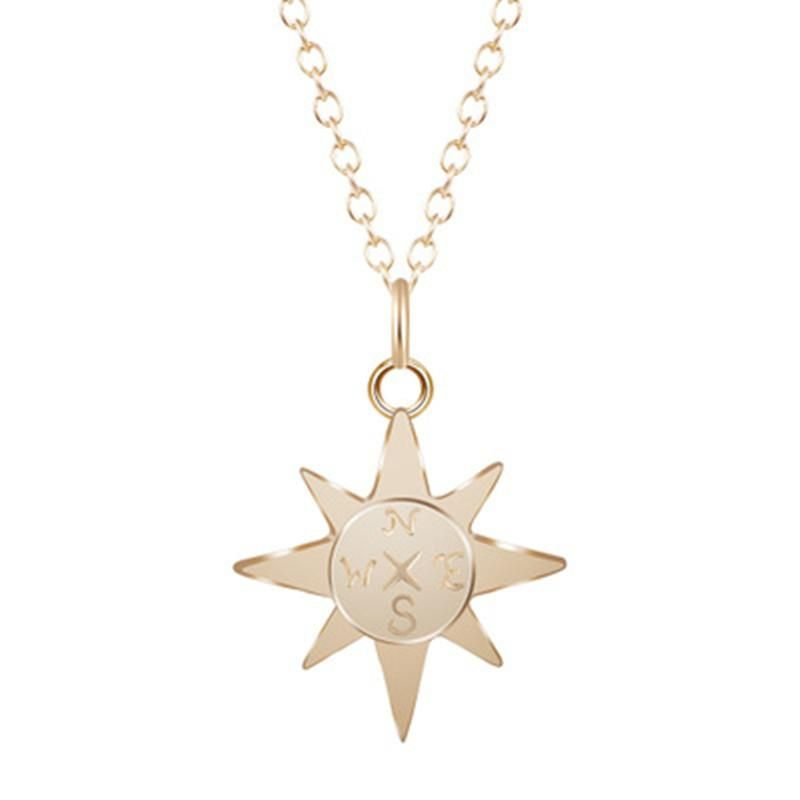 Compass Necklace North Star Compass Necklace Gold Plated Silver Sun Necklace Female Clavicle Chain NHCU206486