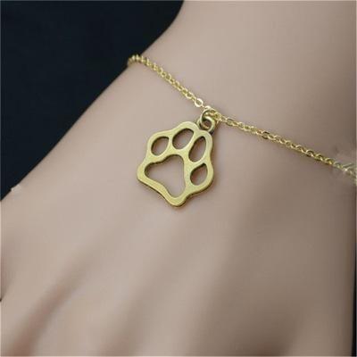 Animal Paw Print Bracelet Hollow Cat Paw Dog Paw Pendant Bracelet Gold Silver Animal Footprint Bracelet NHCU206493
