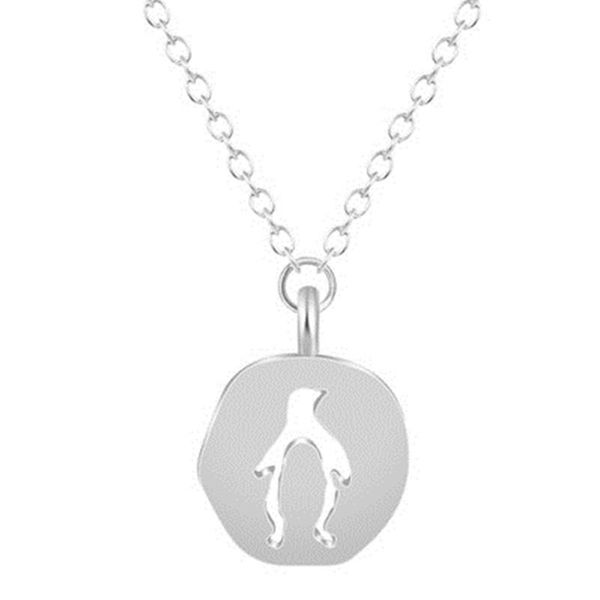 Eco-friendly alloy pendant necklace hollow penguin necklace irregular round necklace wholesale NHCU206496