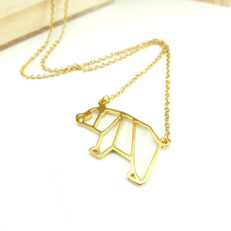 New Necklace Origami Panda Necklace Environmental Protection Alloy Plating Gold Silver Animal Cubs Necklace Clavicle Chain NHCU206498