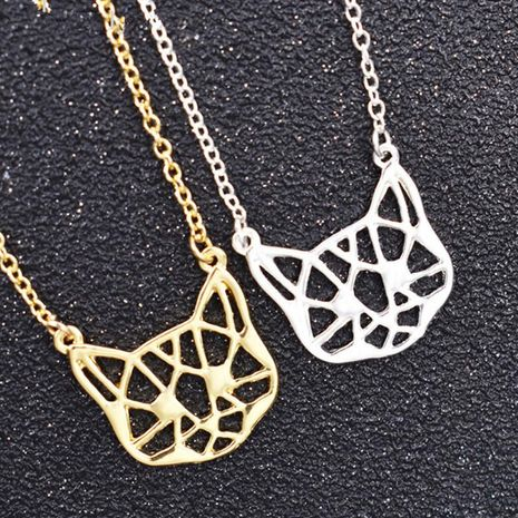 Hollow cat pendant necklace plating gold silver animal kitten necklace clavicle chain wholesale NHCU206499's discount tags