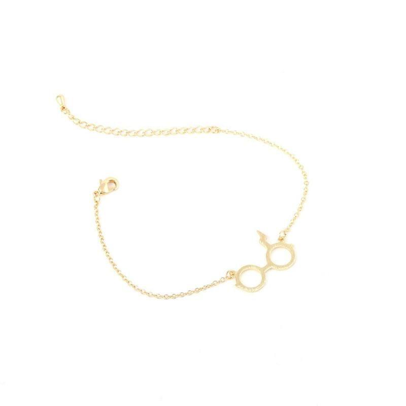 Harry Potter Glasses Bracelet Deathly Hallows Bracelet Alloy Pendant Copper Chain Wholesale NHCU206505