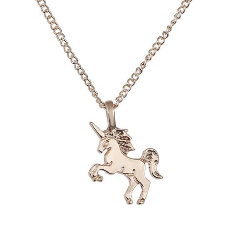Cute Little Unicorn Pendant Necklace Gold Silver Animal Horse Necklace Female Clavicle Chain NHCU206508's discount tags