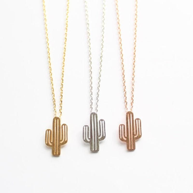 Cactus necklace brushed female clavicle chain hollow cactus plant necklace wholesale NHCU206510