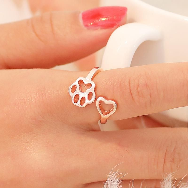 Simple cat paw dog paw ring hollow love dog paw print ring open tail ring NHCU206513