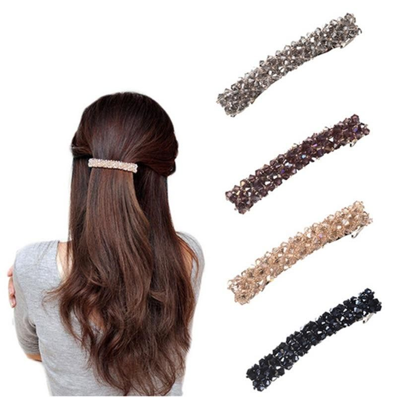 Korean Beaded Crystal Hair Clip Simple Wild Word Clip Female Edge Clip Cheap Spring Clip Wholesale NHLN206518