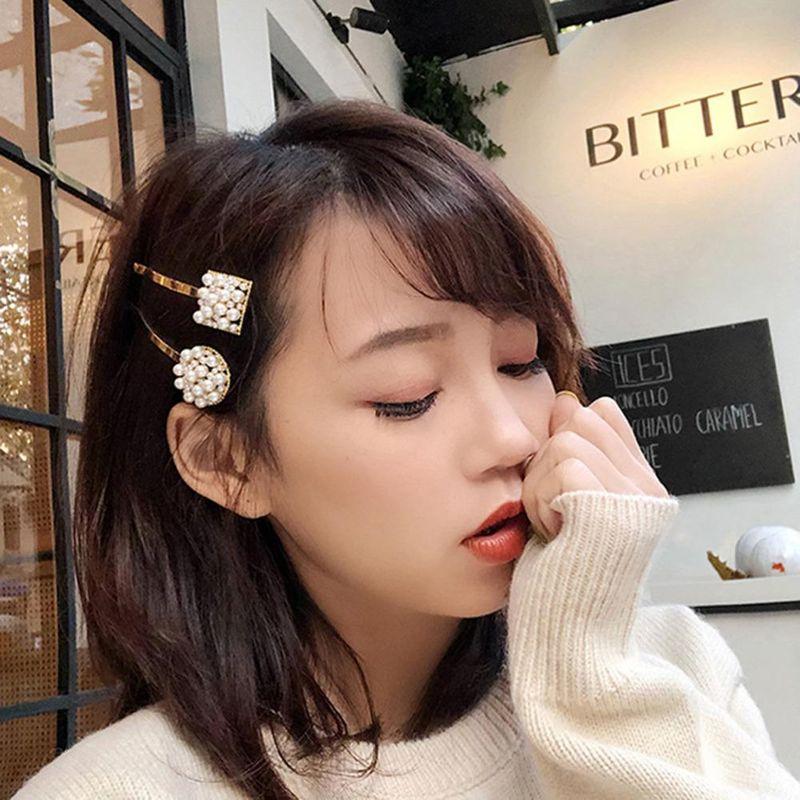 Korean fashion pearl word clip adult hairpin wild side clip side cheap headgear wholesale NHLN206520