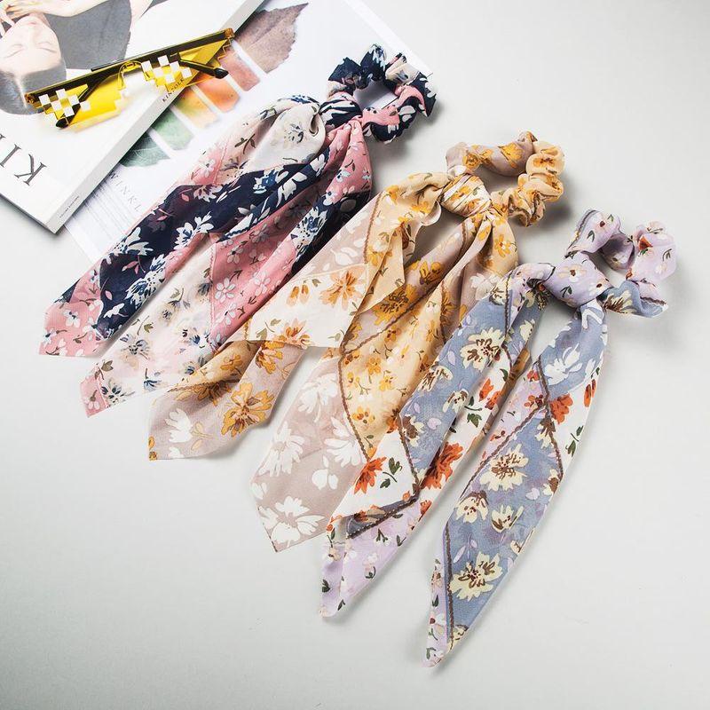 Korean Fashion Hair Band Bohemia Print Chiffon Hair Band Color Headband Bow Ribbon Cheap Scrunches NHLN206523