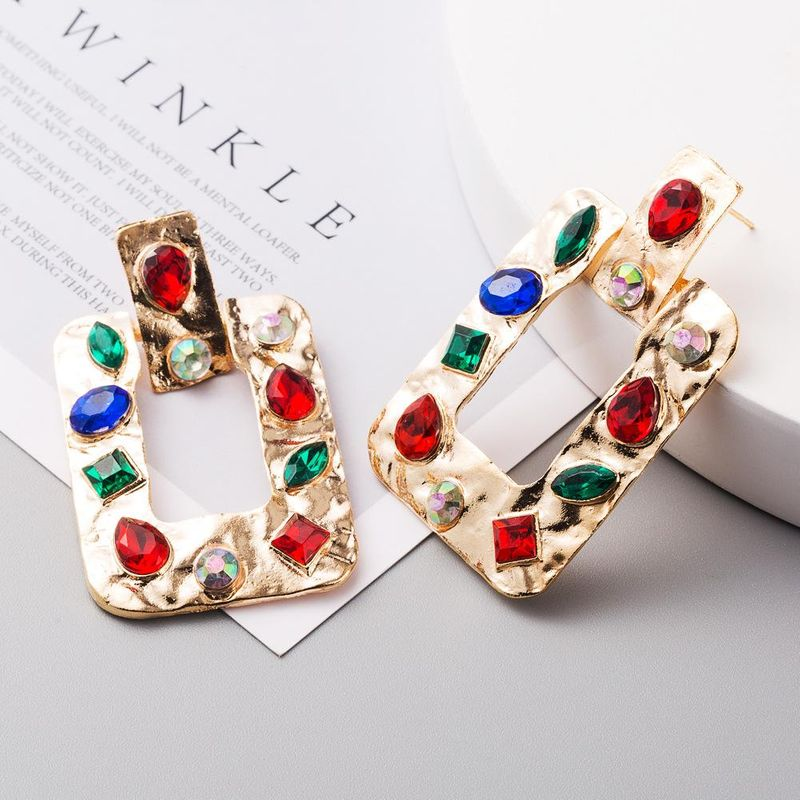 Exaggerated square earrings female alloy inlaid diamonds vintage boho ethnic earrings NHLN206524