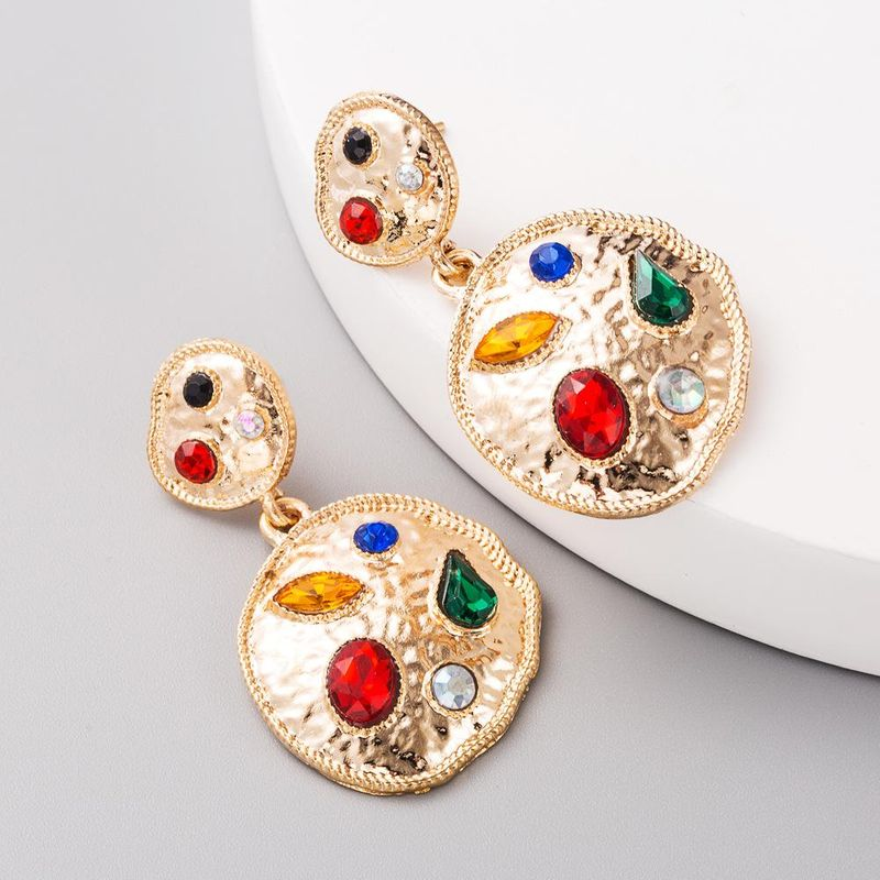 Korean boho alloy earrings with colorful rhinestones NHLN206527