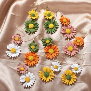 Korean Sweet Summer Cute Little Daisy Long Diamond Wild Earrings NHJQ206529's discount tags