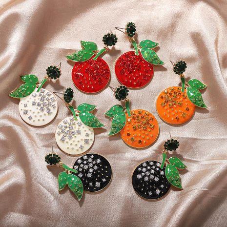 Nouvel été frais doux coréen diamant fruits mandarine boucles d'oreilles en gros NHJQ206530's discount tags