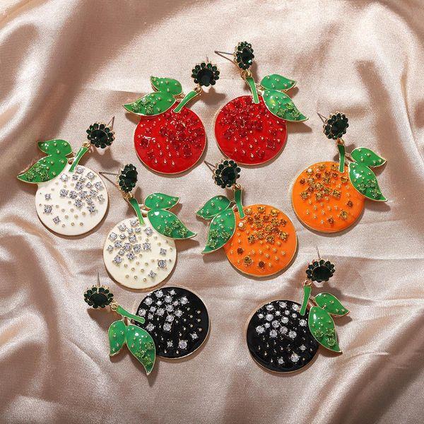 New summer fresh sweet Korean diamond fruit tangerine earrings wholesale NHJQ206530