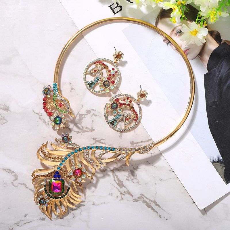 Fashion new peacock rhinestone banquet evening dress shiny bride collar earrings set women NHJQ206532