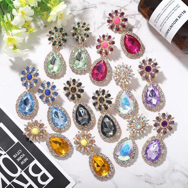 Pendientes de gemas artificiales con forma de diamante de gota de moda nuevos pendientes ovalados para mujeres NHJQ206541